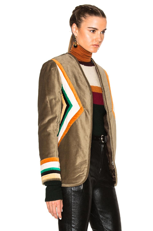Image 4 of Isabel Marant Etoile Lalia Velvet Patch Jacket in Taupe