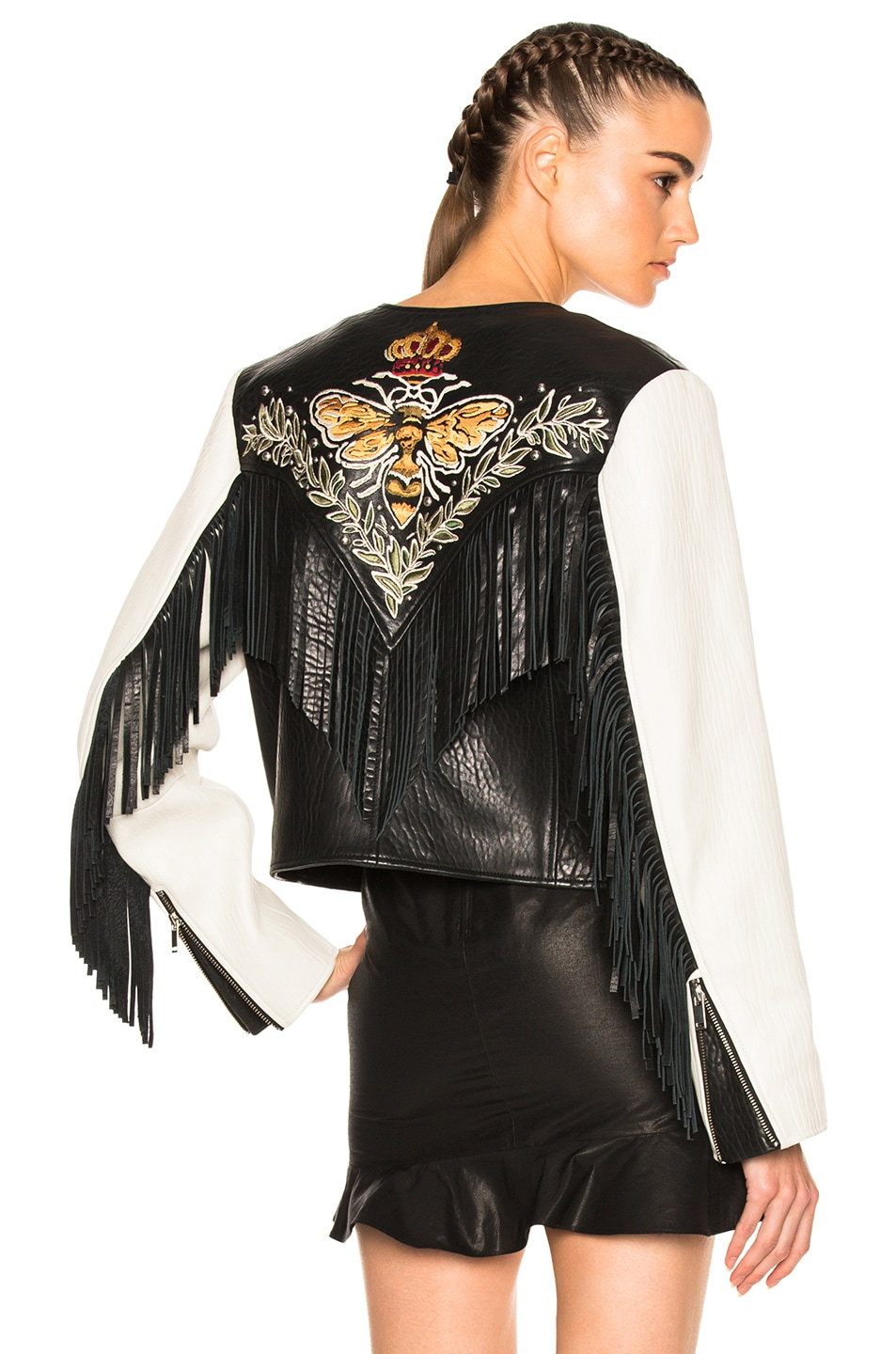 Image 1 of Isabel Marant Etoile Kirk Embroidered Bubble Leather Jacket in  Chalk