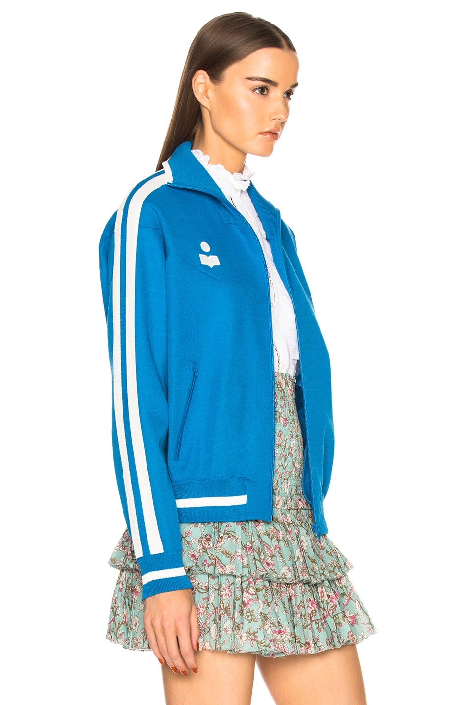 Isabel Marant Etoile Darcy Sporty Knit Track Jacket in Electric Blue