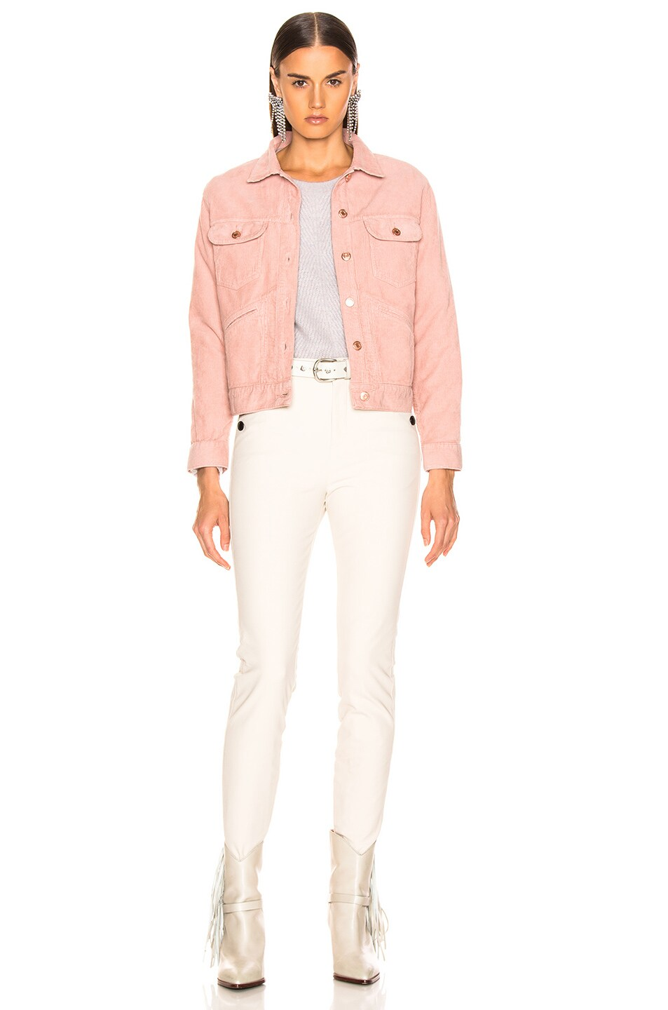 Image 4 of Isabel Marant Etoile Foftya Corduroy Jacket in Light Pink