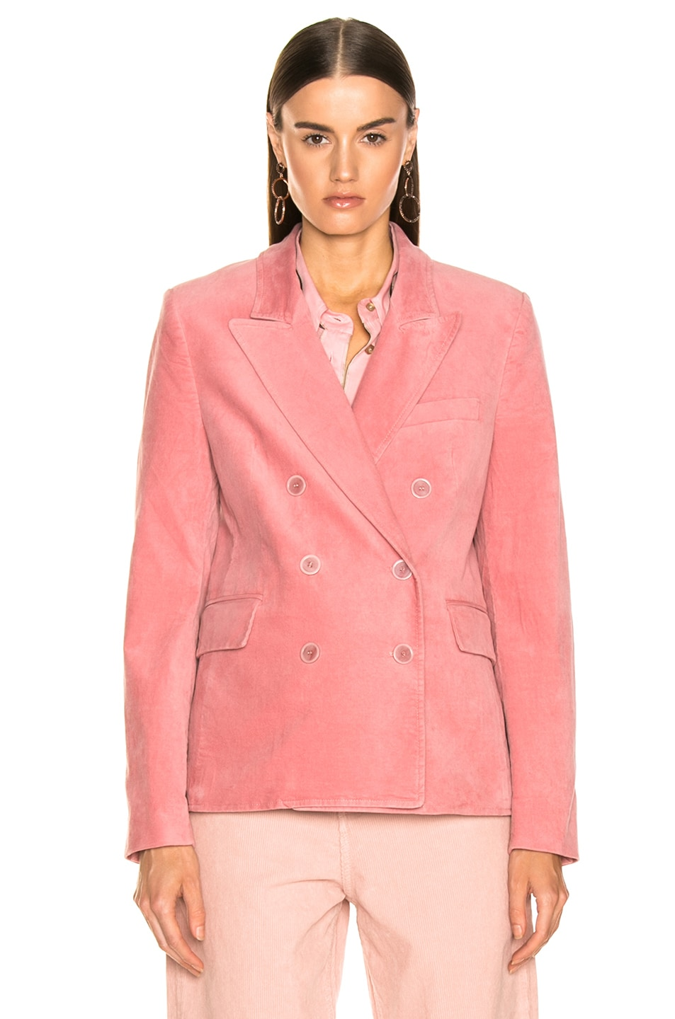 Image 2 of Isabel Marant Etoile Alsey Velvet Blazer in Light Pink