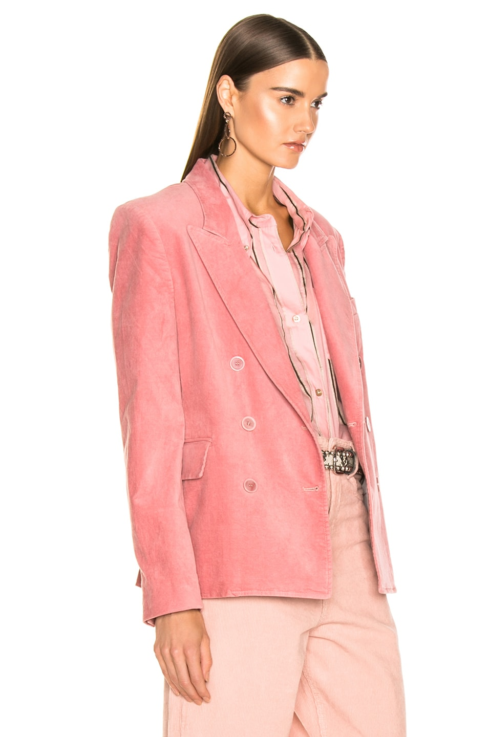 Image 3 of Isabel Marant Etoile Alsey Velvet Blazer in Light Pink