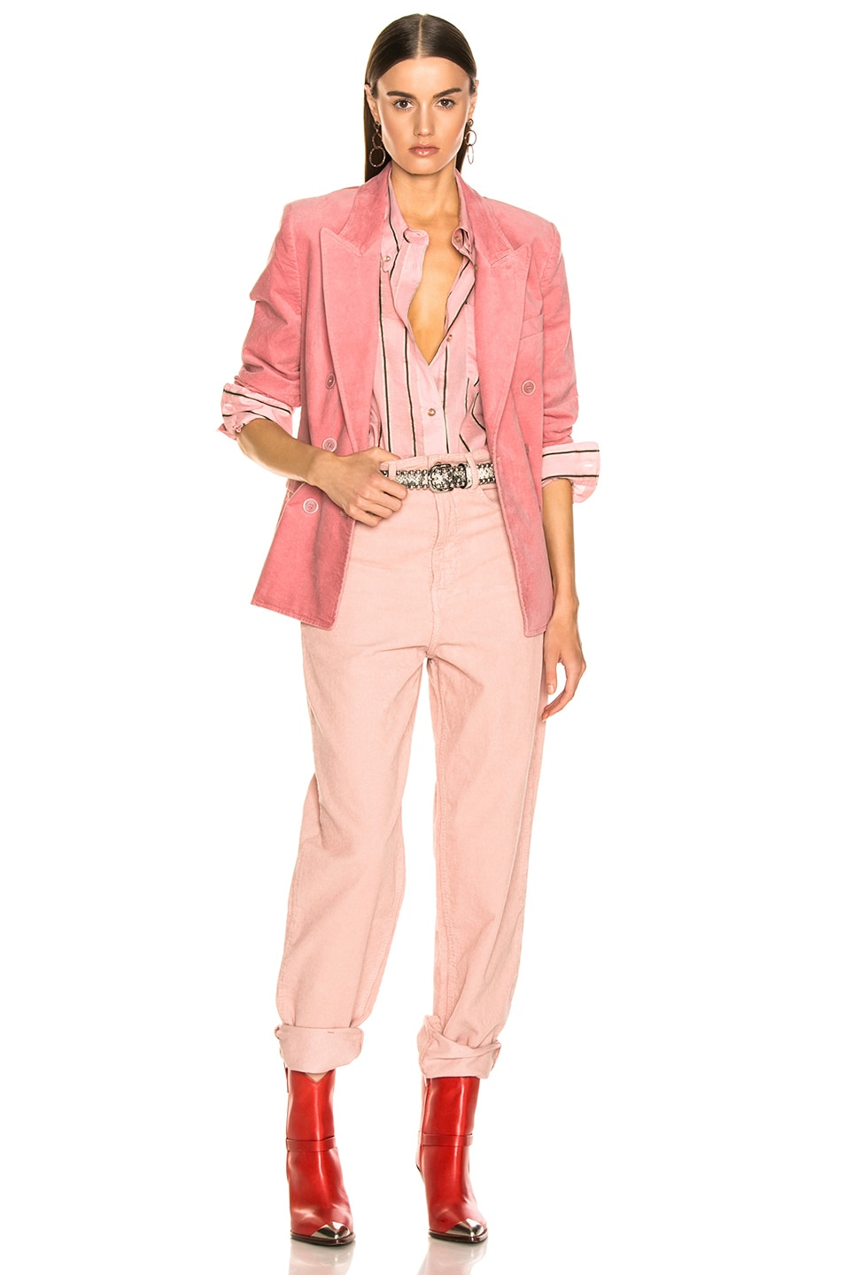 Image 5 of Isabel Marant Etoile Alsey Velvet Blazer in Light Pink