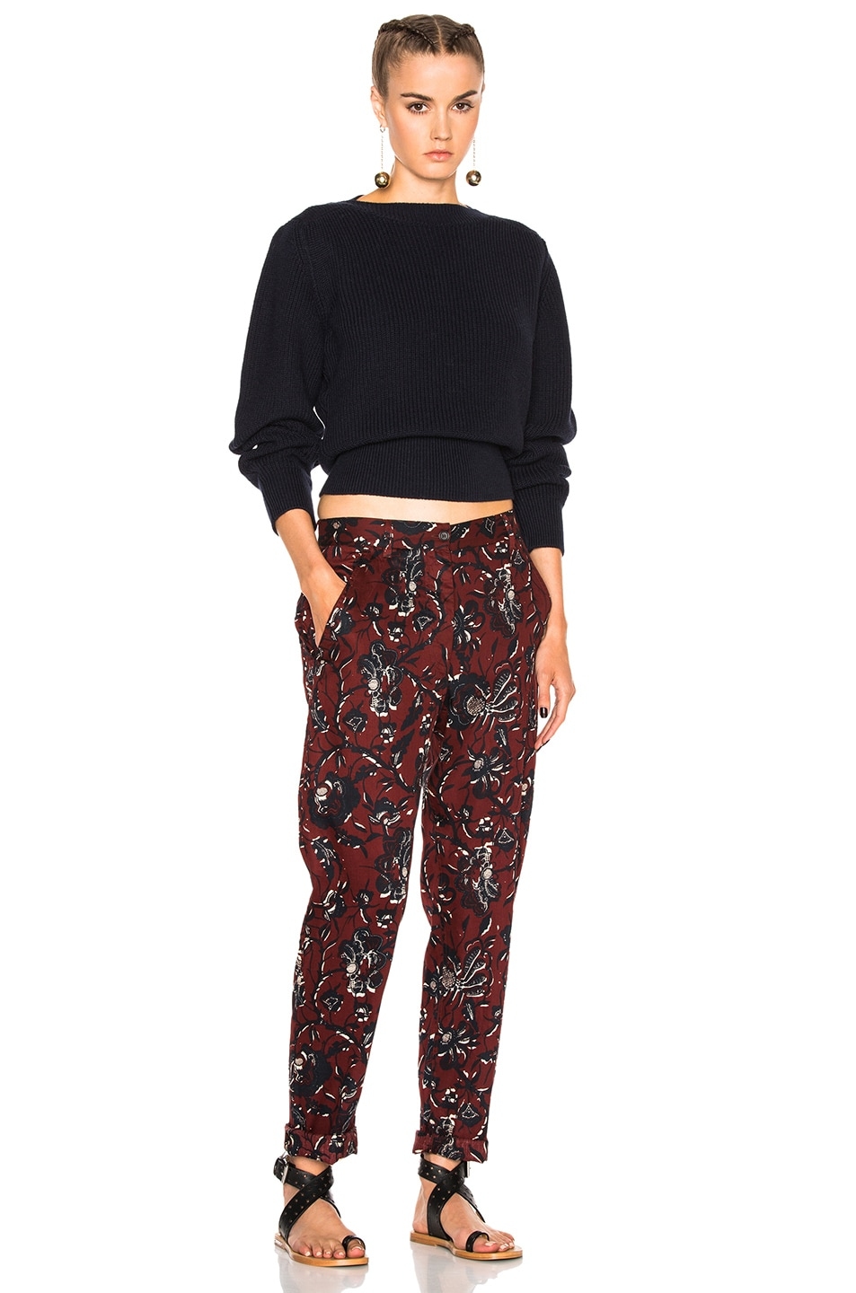 Image 5 of Isabel Marant Etoile Janelle Printed Cotton Pants in Burgundy