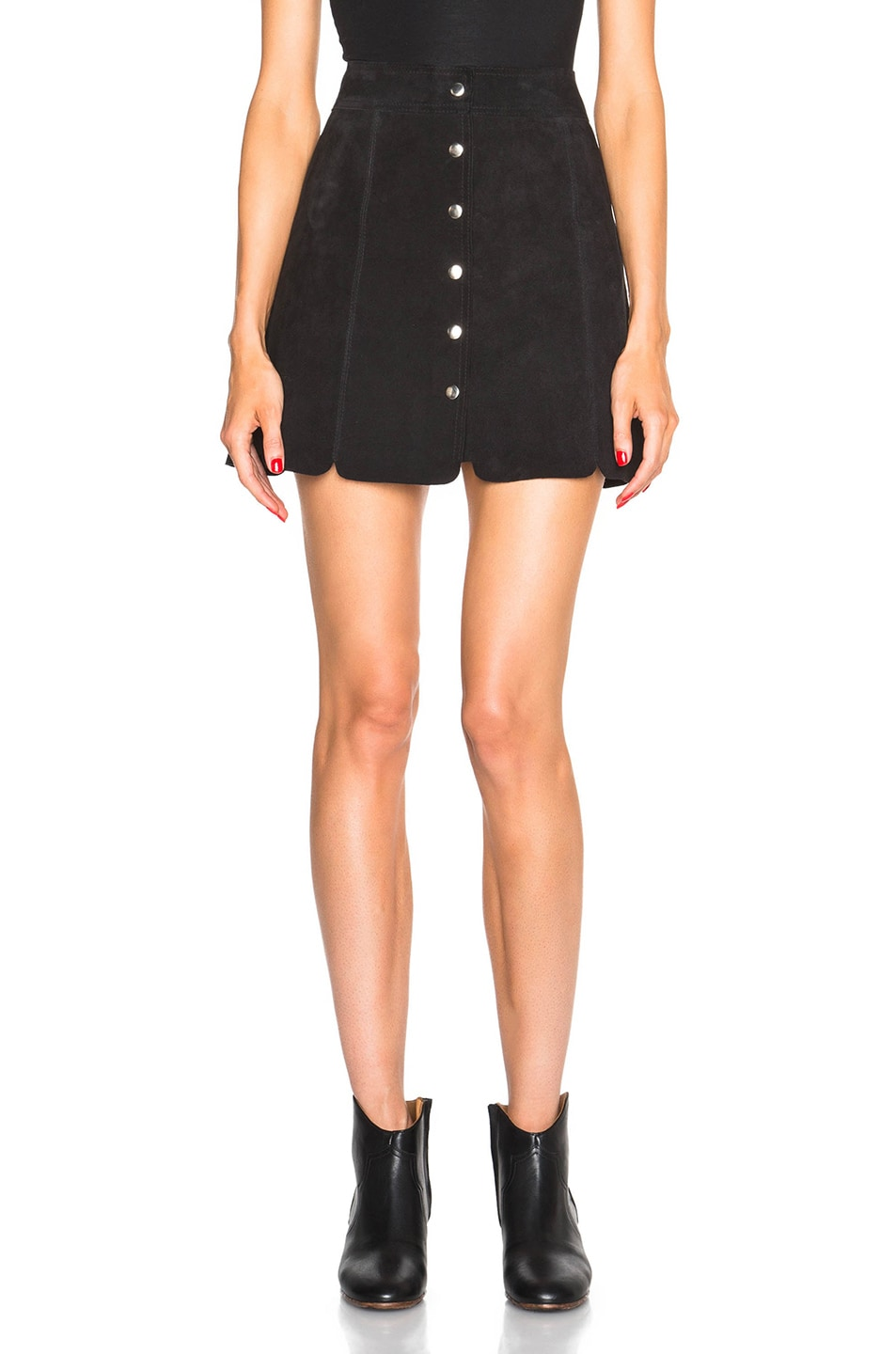 Image 1 of Isabel Marant Etoile Anna Suede Skirt in Faded Black