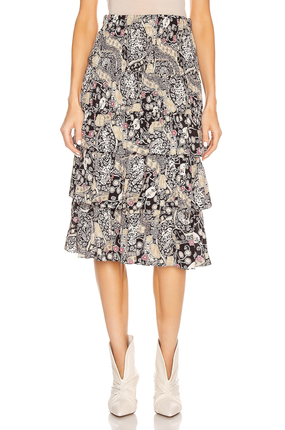 Image 1 of Isabel Marant Etoile Cencia Skirt in Black & Beige