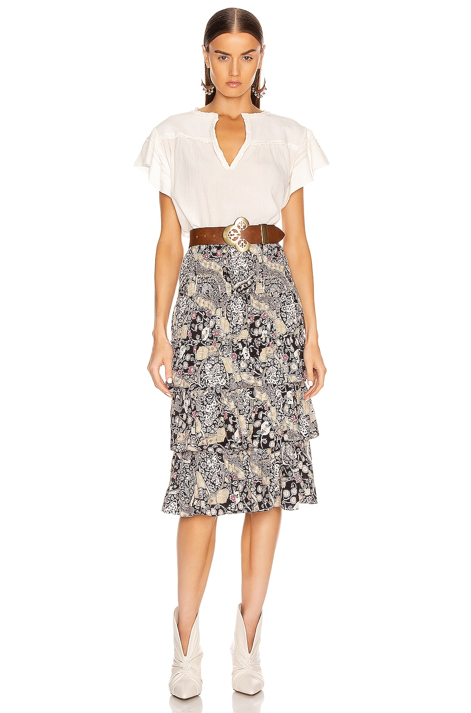 Image 4 of Isabel Marant Etoile Cencia Skirt in Black & Beige