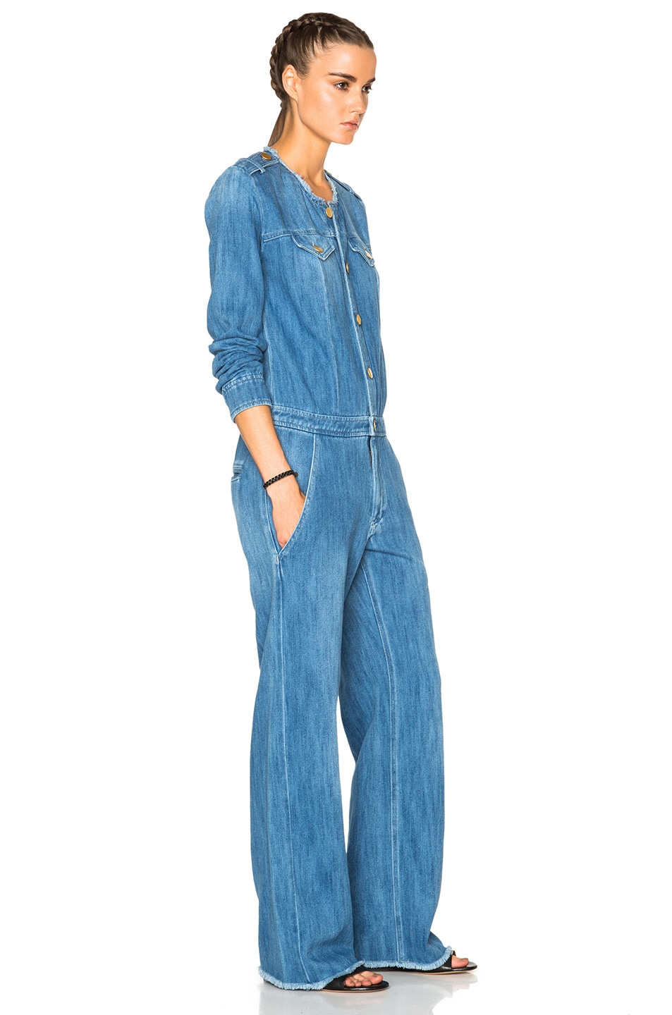 c3e5f963230c Image 3 of Isabel Marant Etoile Ojima Fluffy Jean Jumpsuit in Blue