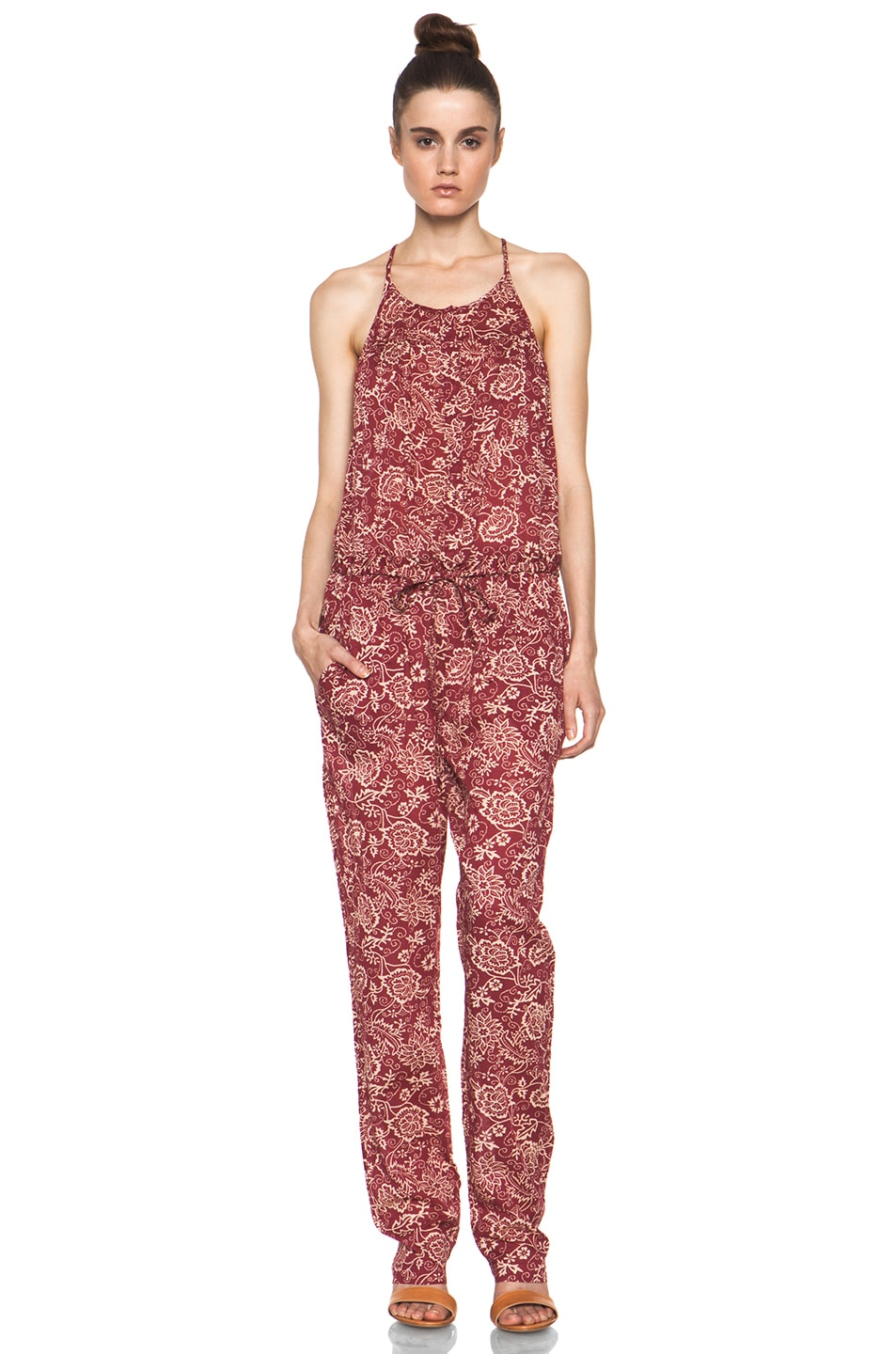 e2950cb64a3a Image 1 of Isabel Marant Etoile Seth Printed Cotton Voile Jumpsuit in Rouge