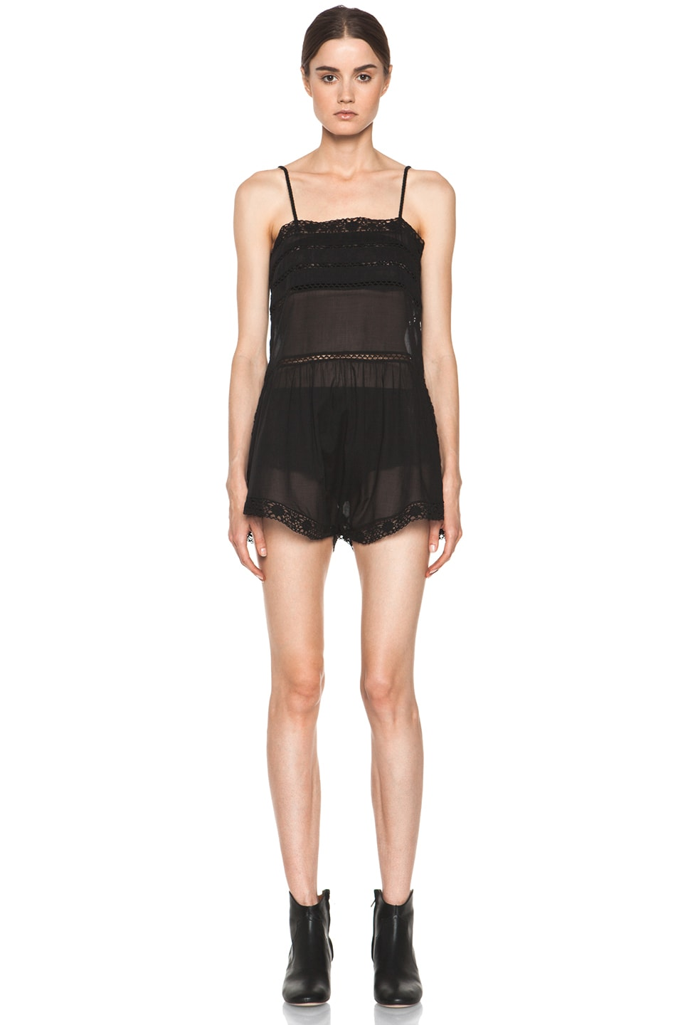 Image 1 of Isabel Marant Etoile Greg Cotton Voile and Lace Romper in Noir