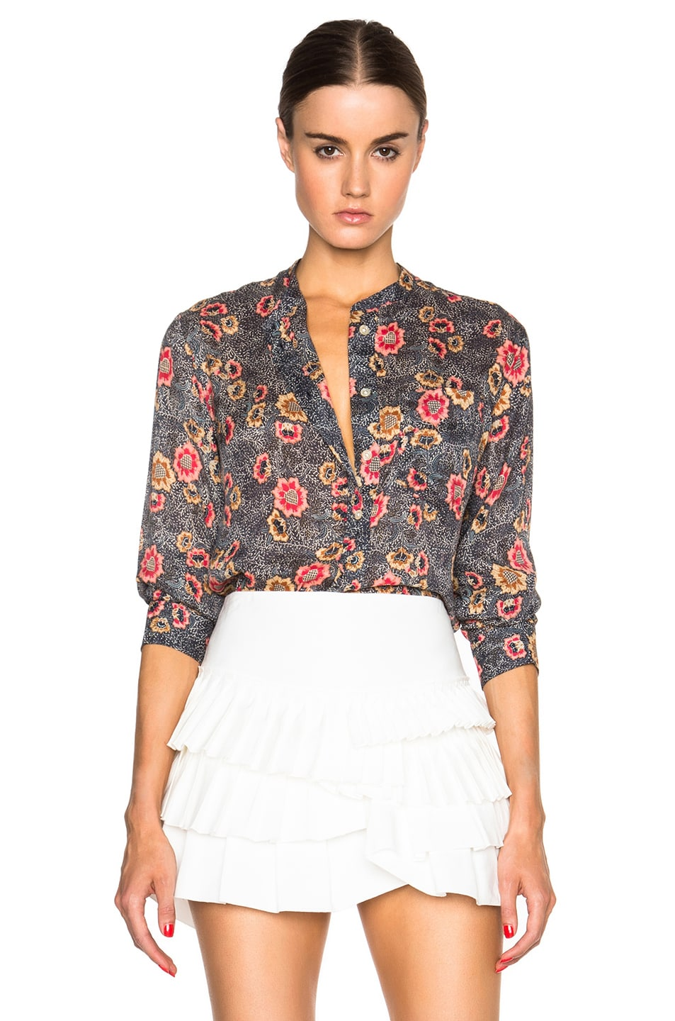 c997bfa03e Image 1 of Isabel Marant Etoile Isabel Marant Silena Flowers Blouse in  Faded Black