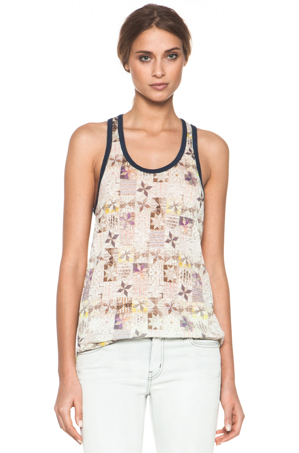 Image 1 of Isabel Marant Etoile Foxton All Over Printed Linen Tank in Mauve