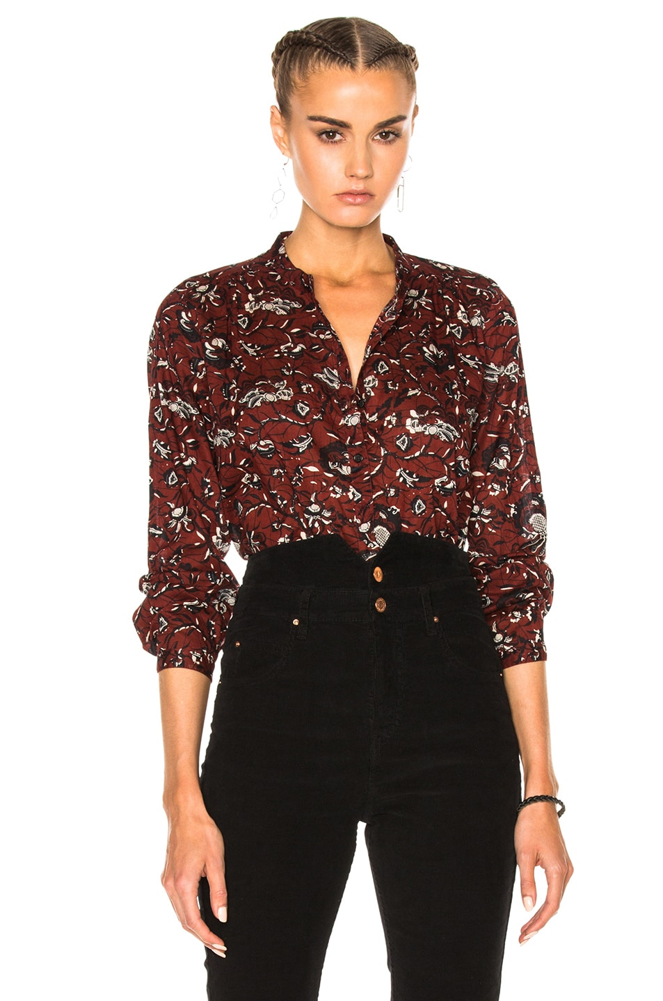 03c009613c7ddc Image 1 of Isabel Marant Etoile Amaria Rasta Flower Blouse in Burgundy