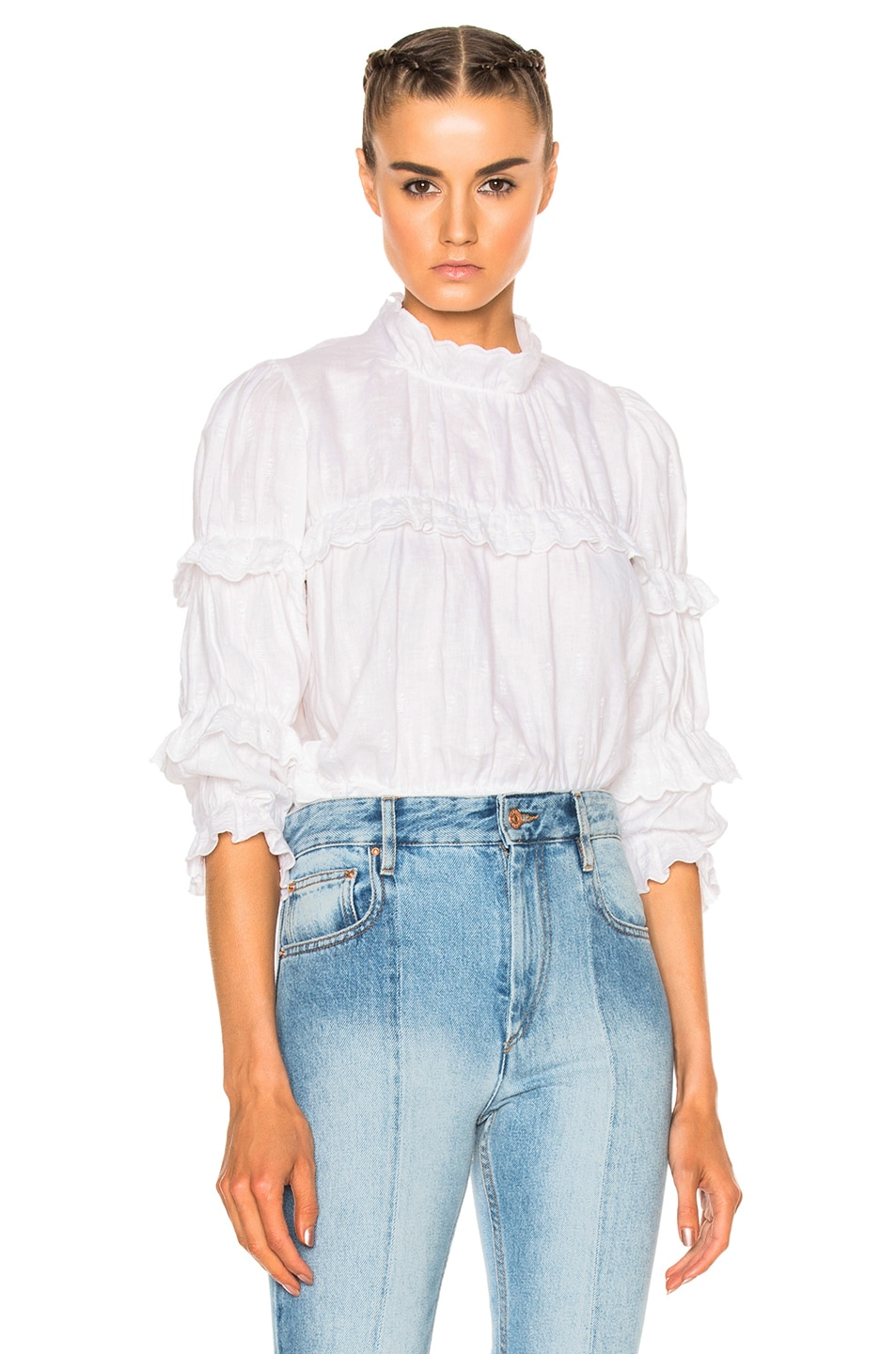 Image 1 of Isabel Marant Etoile Daniela Chic Linen Top in White