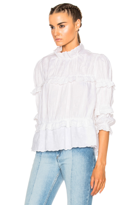 Image 2 of Isabel Marant Etoile Daniela Chic Linen Top in White