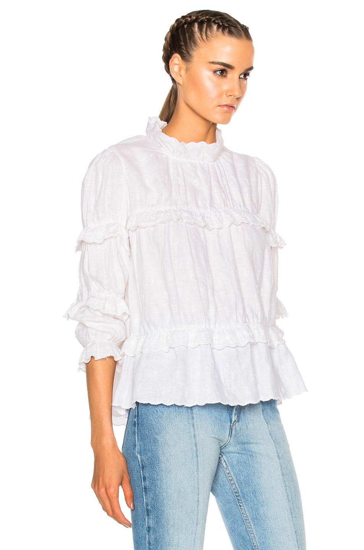 Image 3 of Isabel Marant Etoile Daniela Chic Linen Top in White