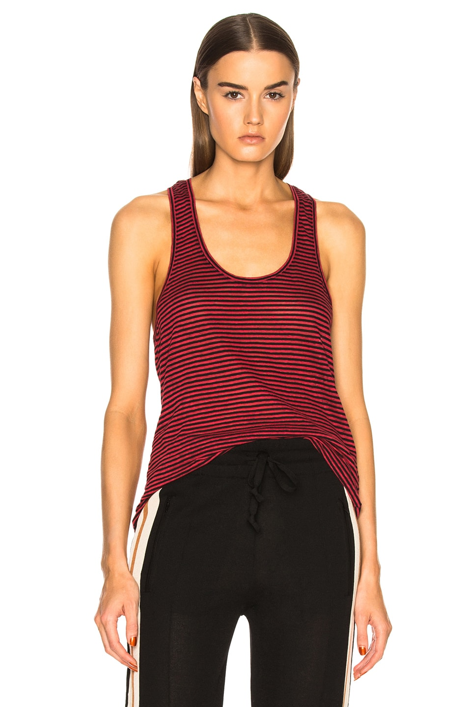 Image 1 of Isabel Marant Etoile Avien Striped Linen Tank in Red