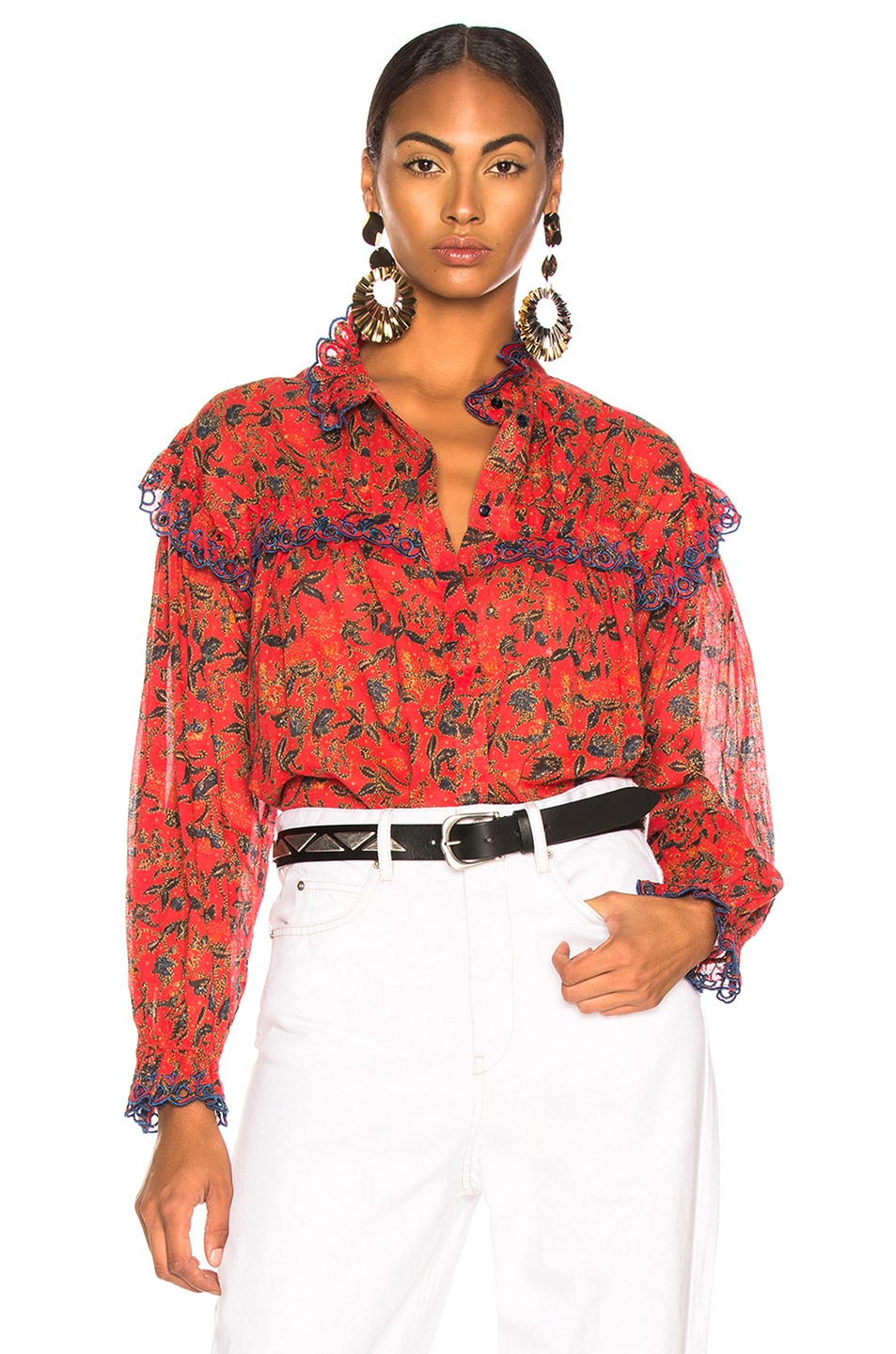 6c995aae40a Image 1 of Isabel Marant Etoile Elmira Top in Red