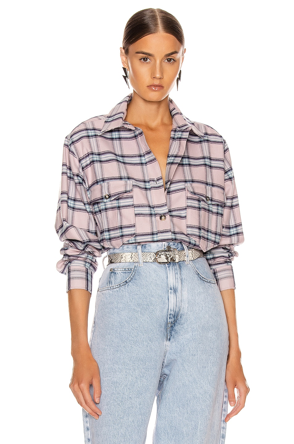 Image 1 of Isabel Marant Etoile Idaho Shirt in Pink & Blue
