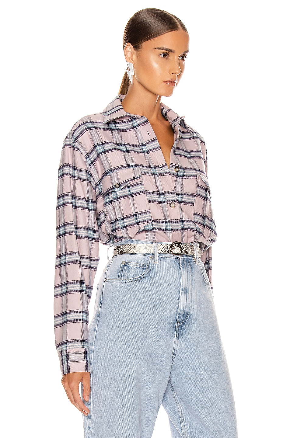 Image 2 of Isabel Marant Etoile Idaho Shirt in Pink & Blue