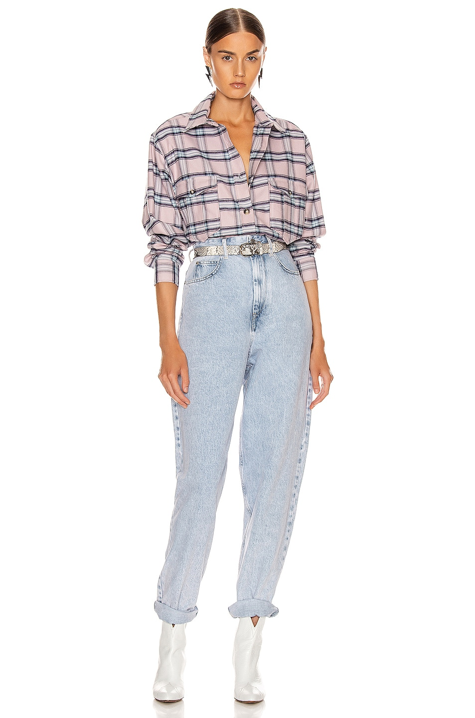 Image 4 of Isabel Marant Etoile Idaho Shirt in Pink & Blue