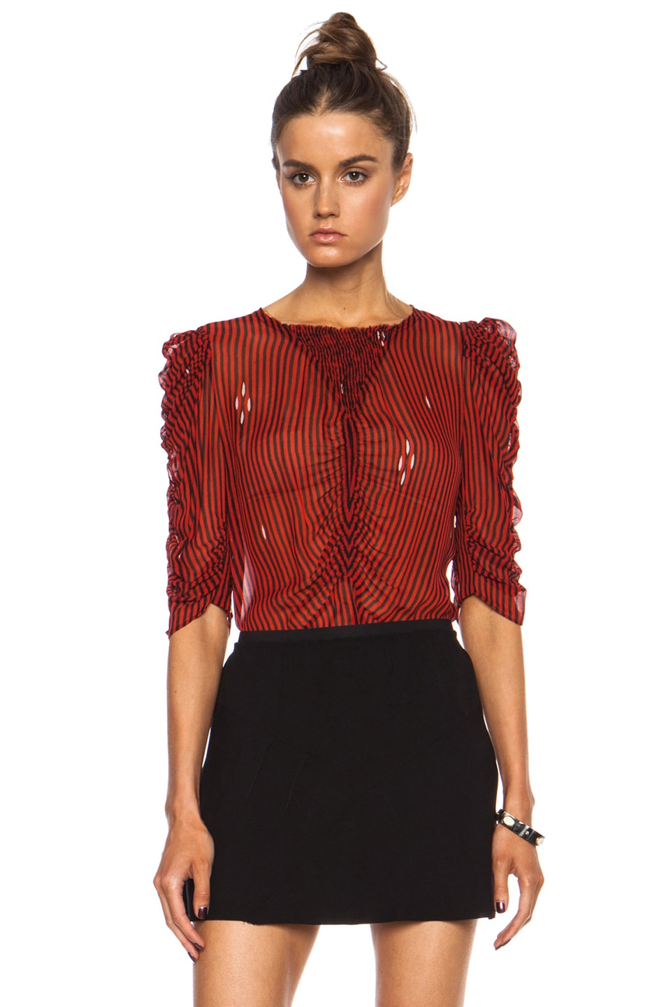 Image 1 of Isabel Marant Etoile Caja Striped Viscose Blouse in Red