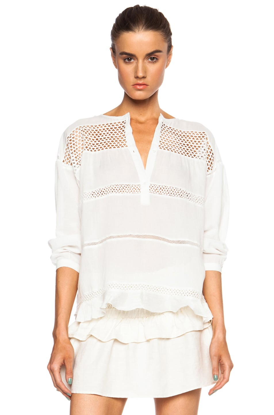 Image 1 of Isabel Marant Etoile Chay Cotton-Blend Voile Vintage Blouse in White