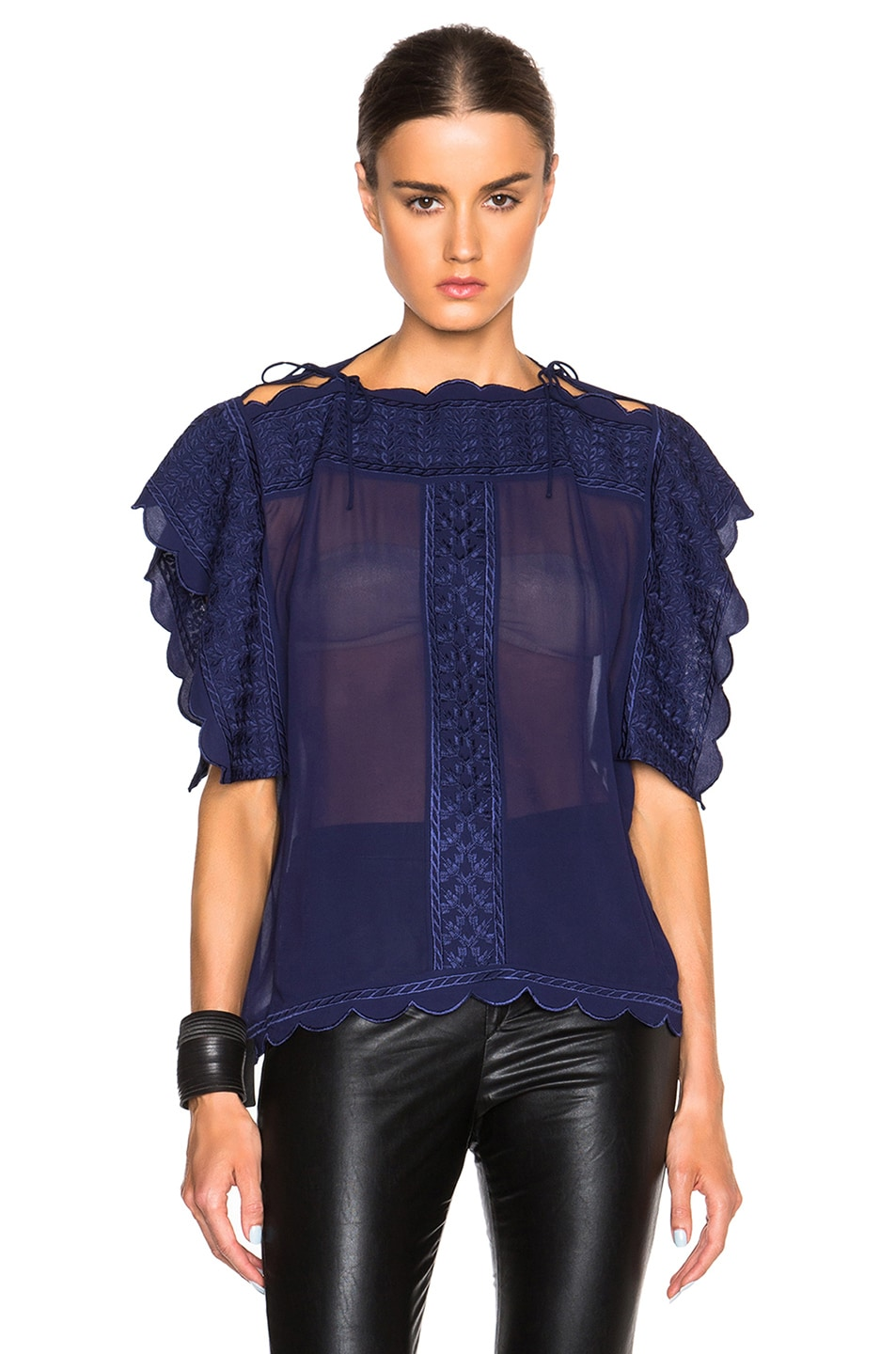 Image 1 of Isabel Marant Etoile Audrina Embroidered Dancers Top in Midnight