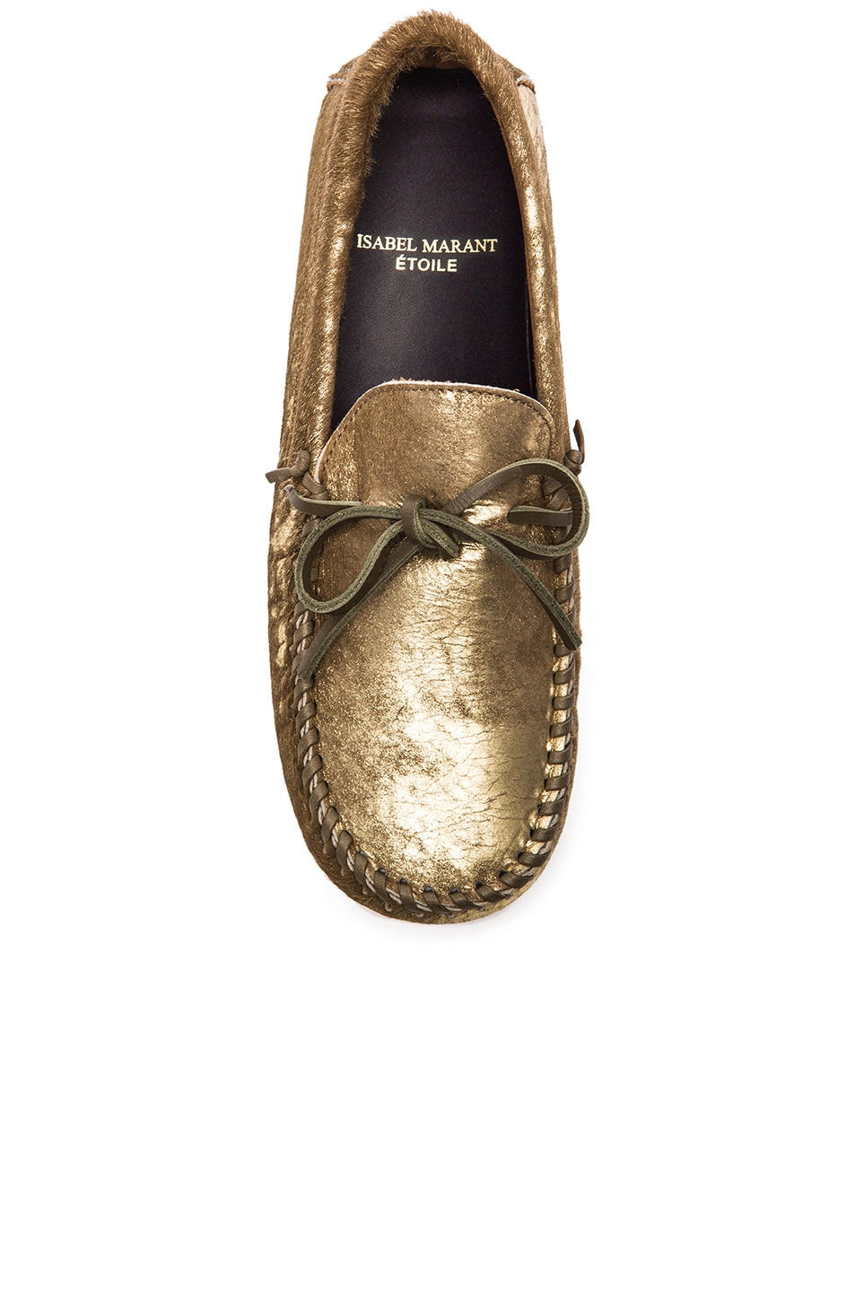 3610e87c871 Image 4 of Isabel Marant Etoile Fodih Calf Hair Moccasins in Dore