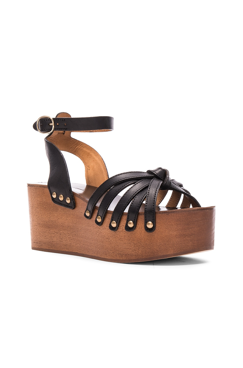 a0111880d6f Image 2 of Isabel Marant Etoile Zia Leather Wedge Sandals in Black