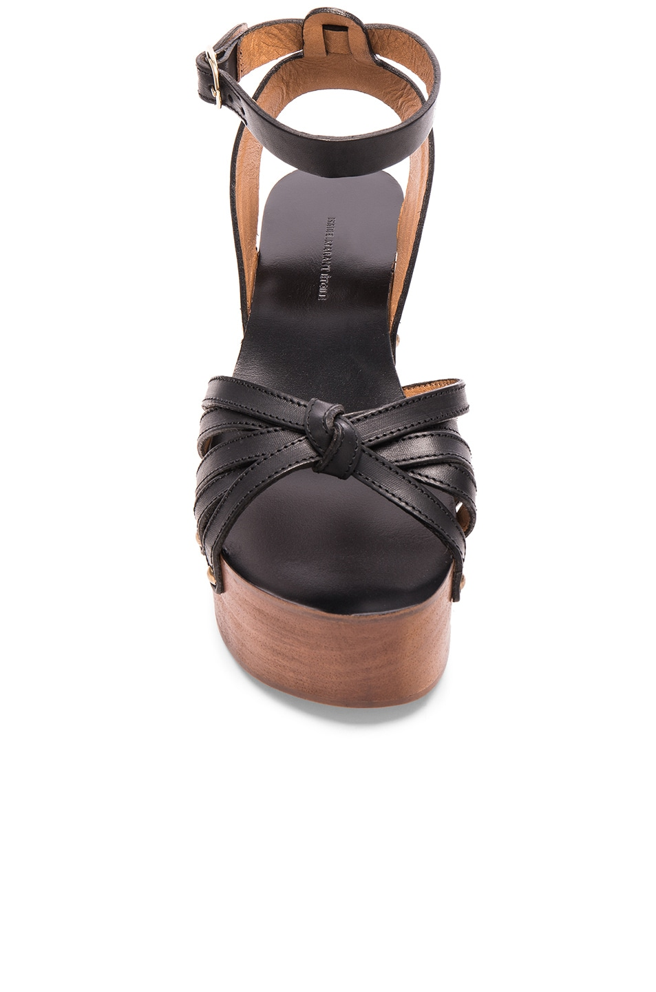 467deb8f6a6 Image 4 of Isabel Marant Etoile Zia Leather Wedge Sandals in Black