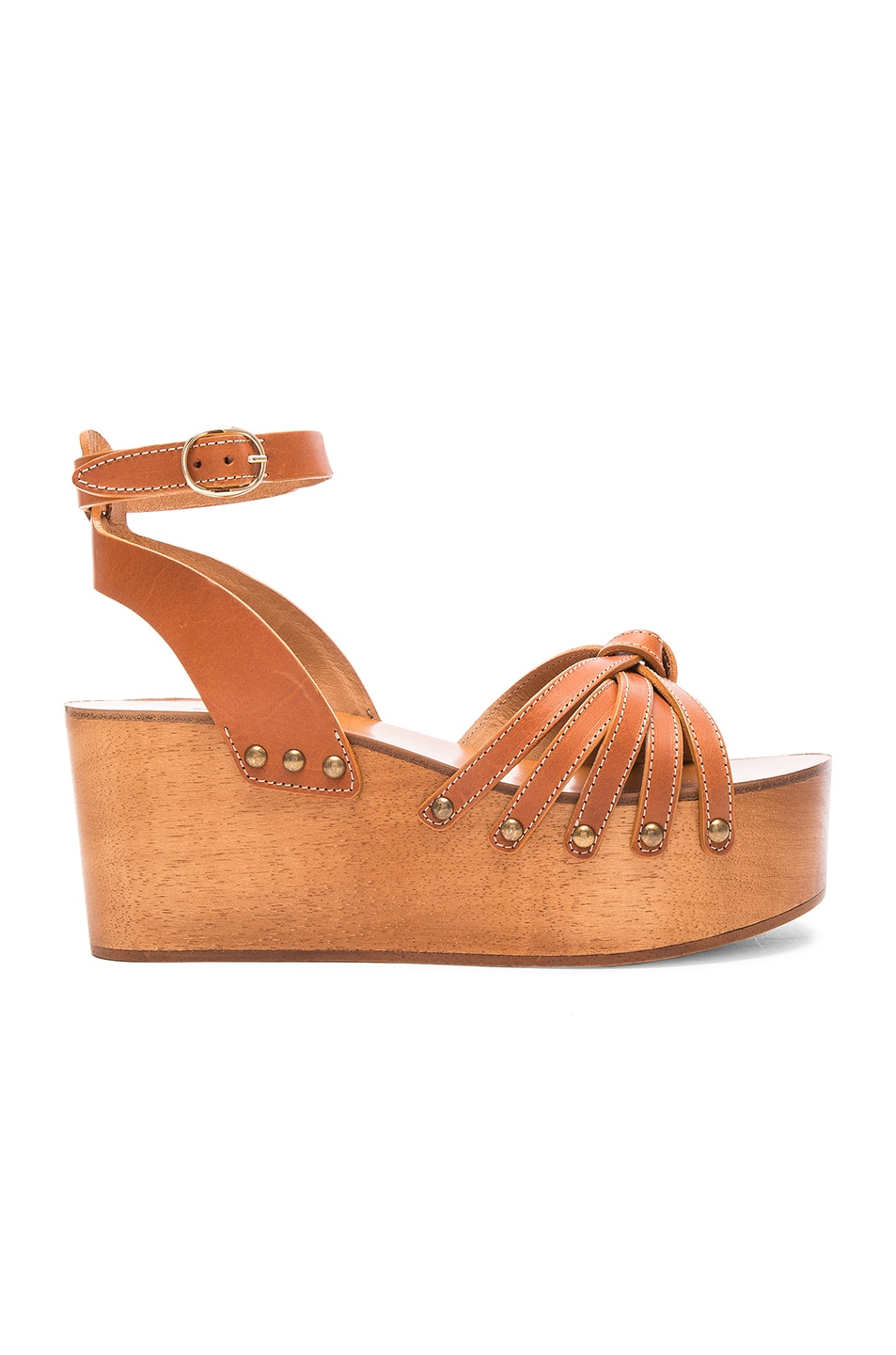 Image 1 of Isabel Marant Etoile Zia Leather Wedge Sandals in Tan