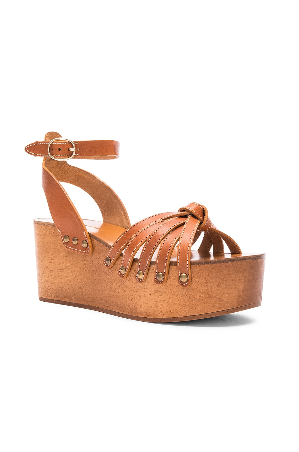 Image 2 of Isabel Marant Etoile Zia Leather Wedge Sandals in Tan