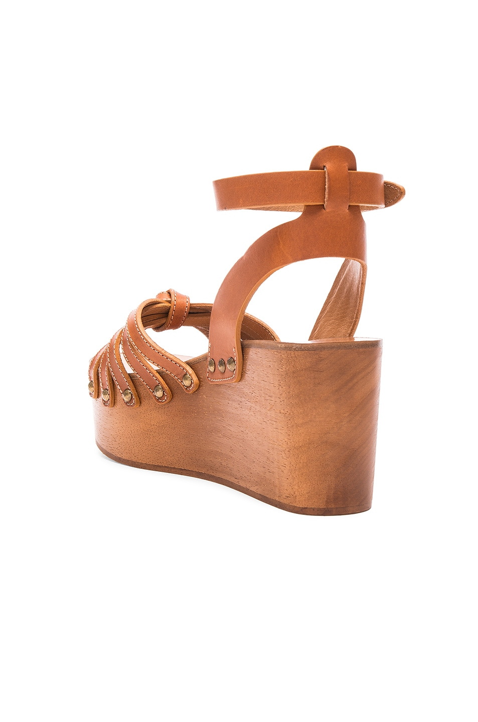 Image 3 of Isabel Marant Etoile Zia Leather Wedge Sandals in Tan