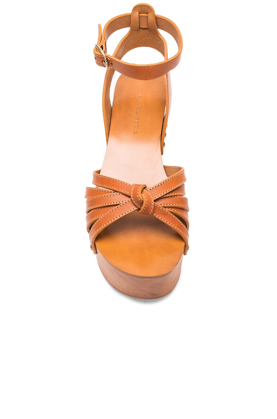 Image 4 of Isabel Marant Etoile Zia Leather Wedge Sandals in Tan