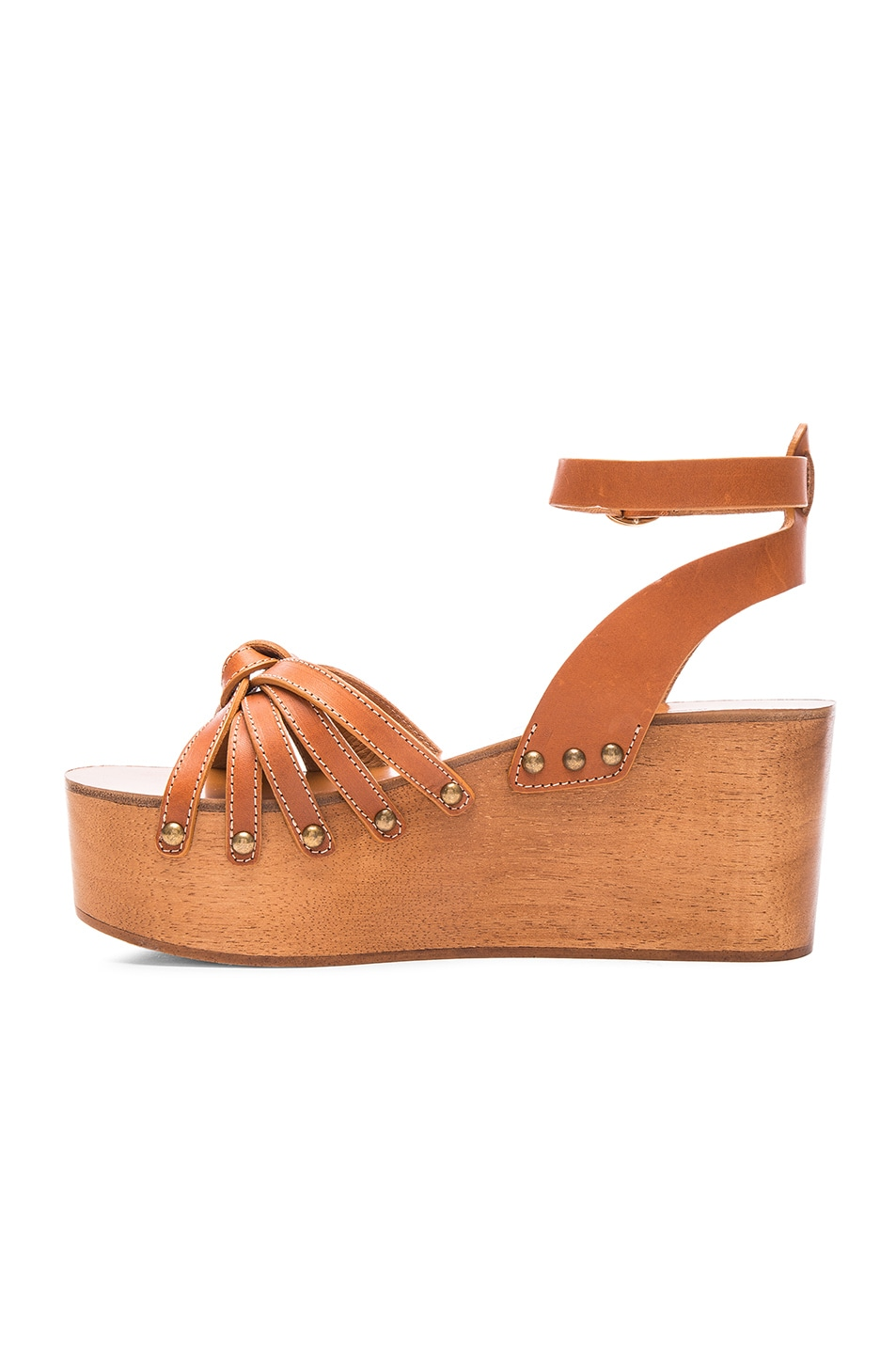 Image 5 of Isabel Marant Etoile Zia Leather Wedge Sandals in Tan