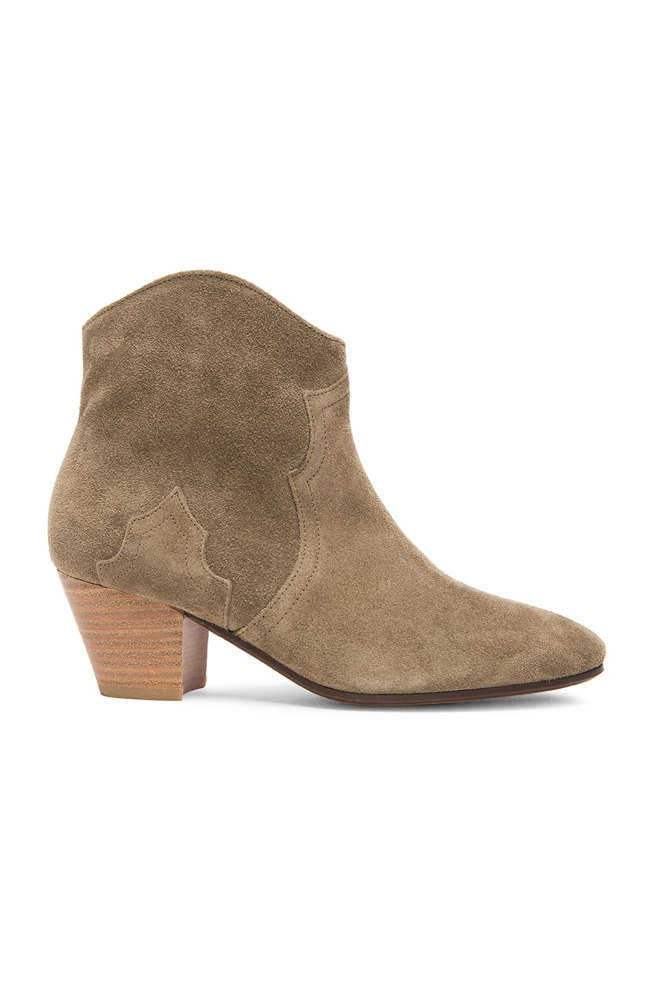 Image 1 of Isabel Marant Etoile Dicker Calfskin Velvet Leather Boots in Taupe