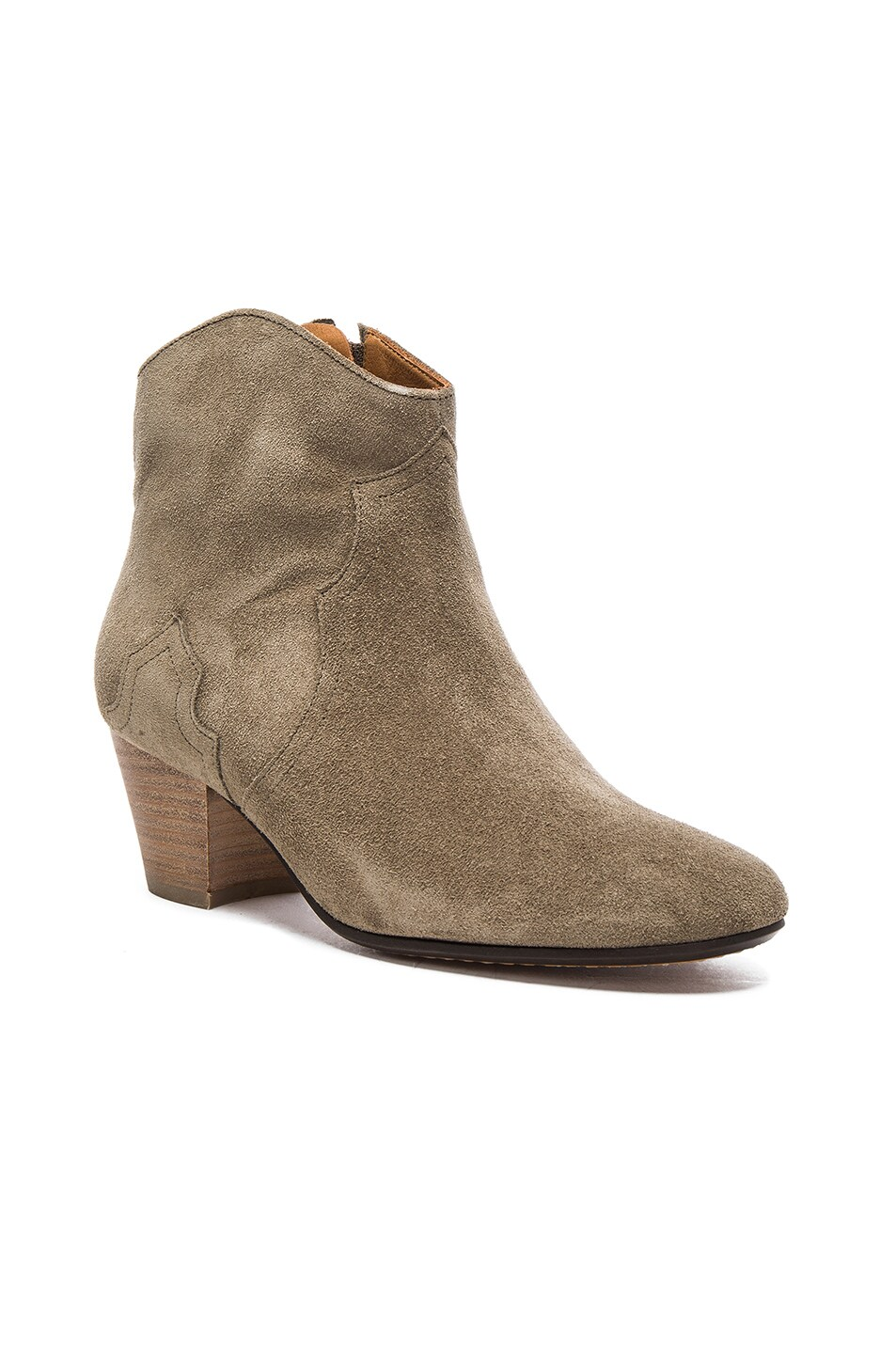 Image 2 of Isabel Marant Etoile Dicker Velvet Booties in Taupe