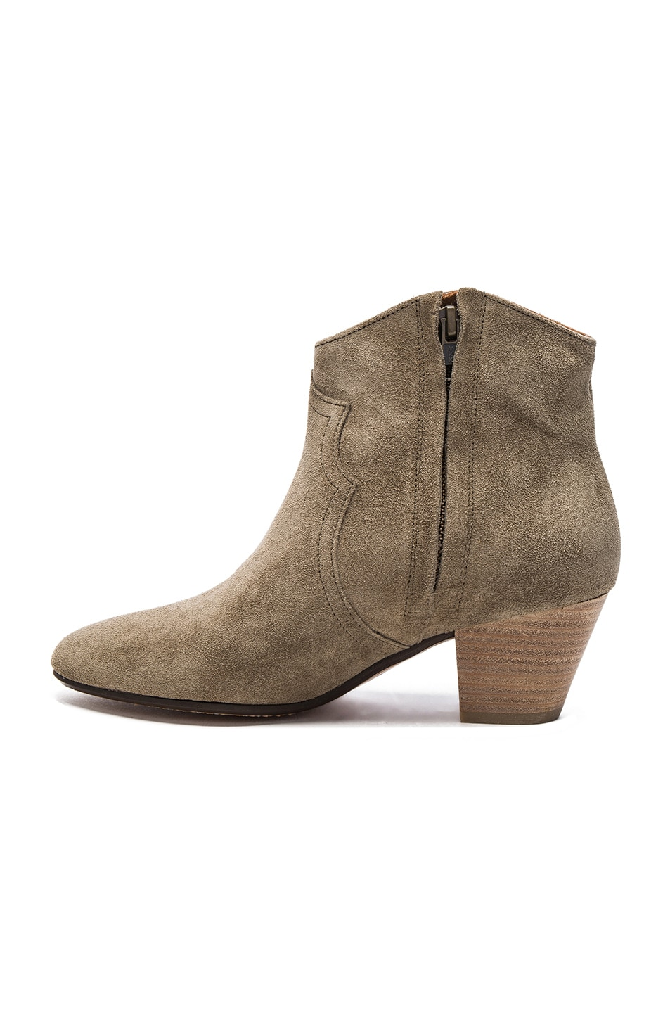Image 5 of Isabel Marant Etoile Dicker Velvet Booties in Taupe