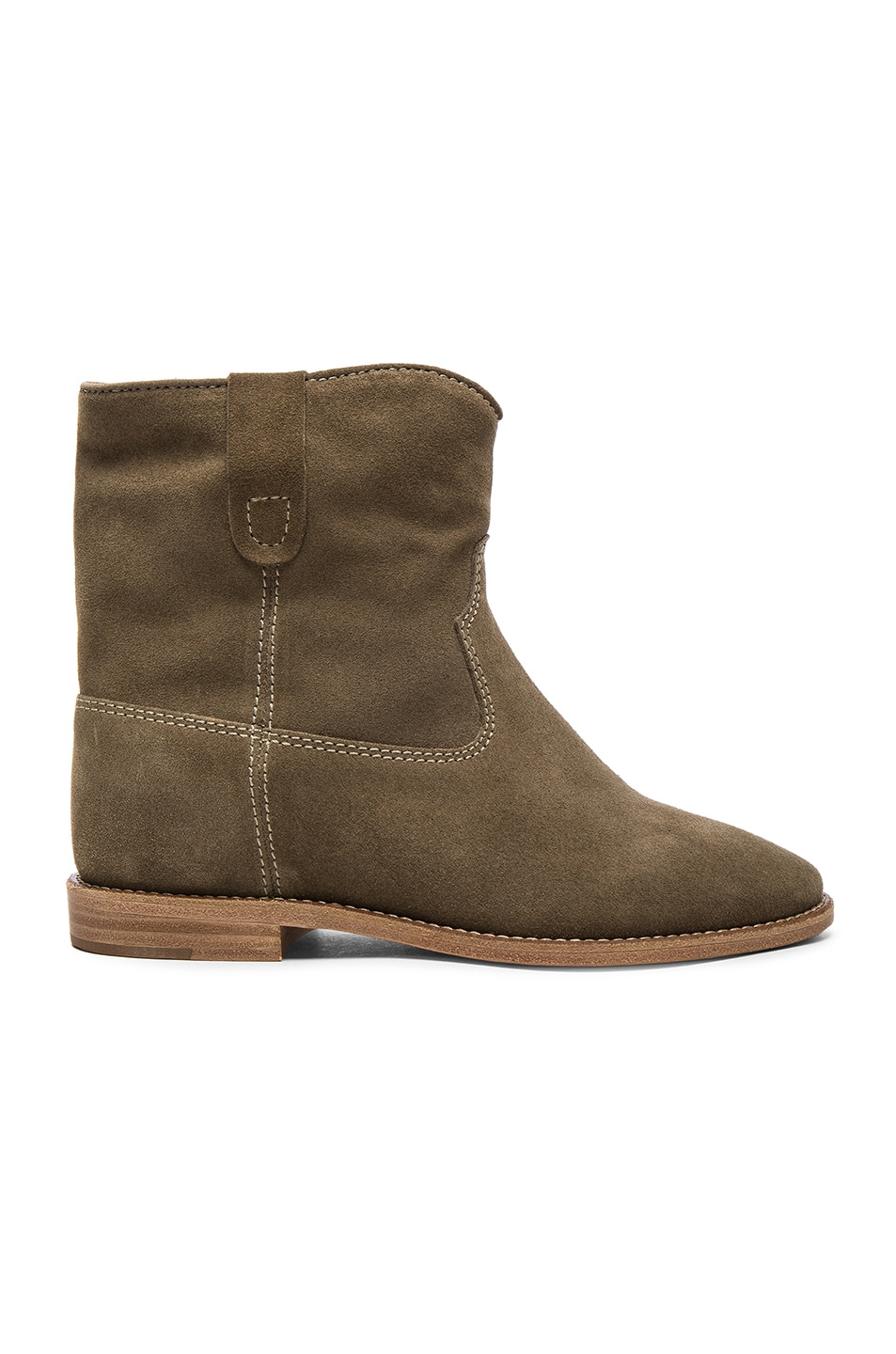 Image 1 of Isabel Marant Etoile Crisi Velvet Booties in Taupe