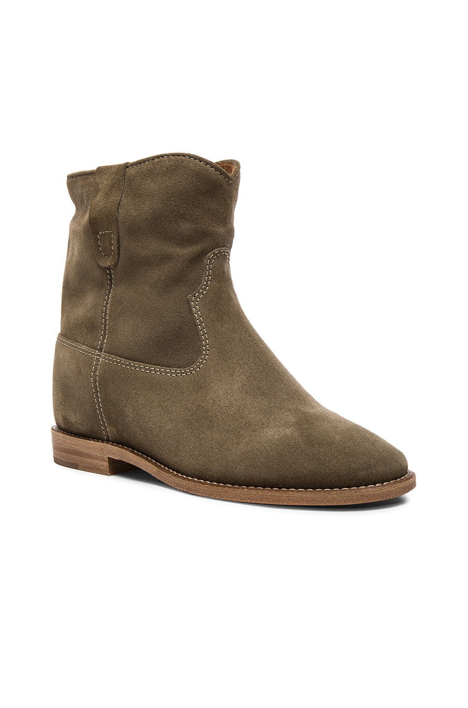 Image 2 of Isabel Marant Etoile Crisi Velvet Booties in Taupe
