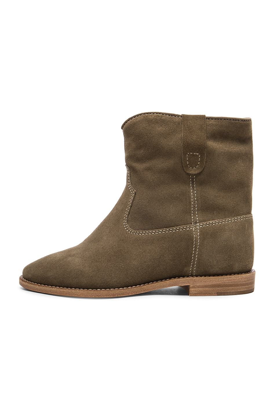Image 5 of Isabel Marant Etoile Crisi Velvet Booties in Taupe