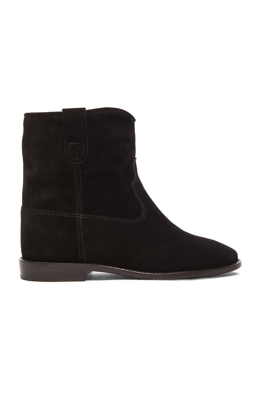 Image 1 of Isabel Marant Etoile Crisi Calfskin Velvet Boots in Black