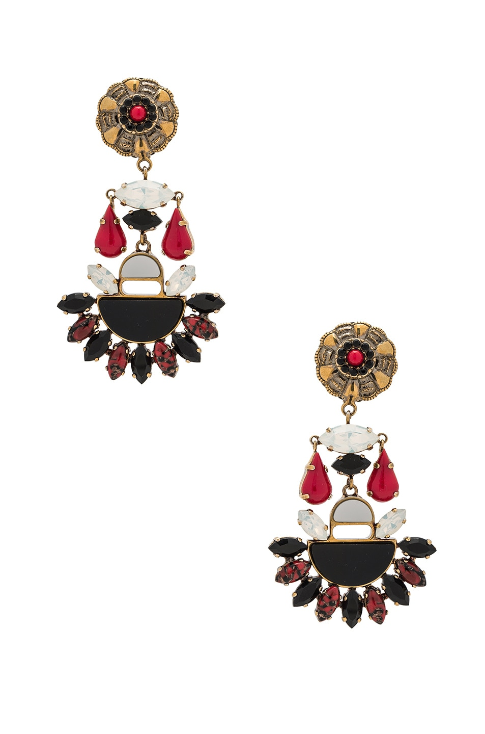 Image 1 of Etro Tribal Earrings in Red Multicolor