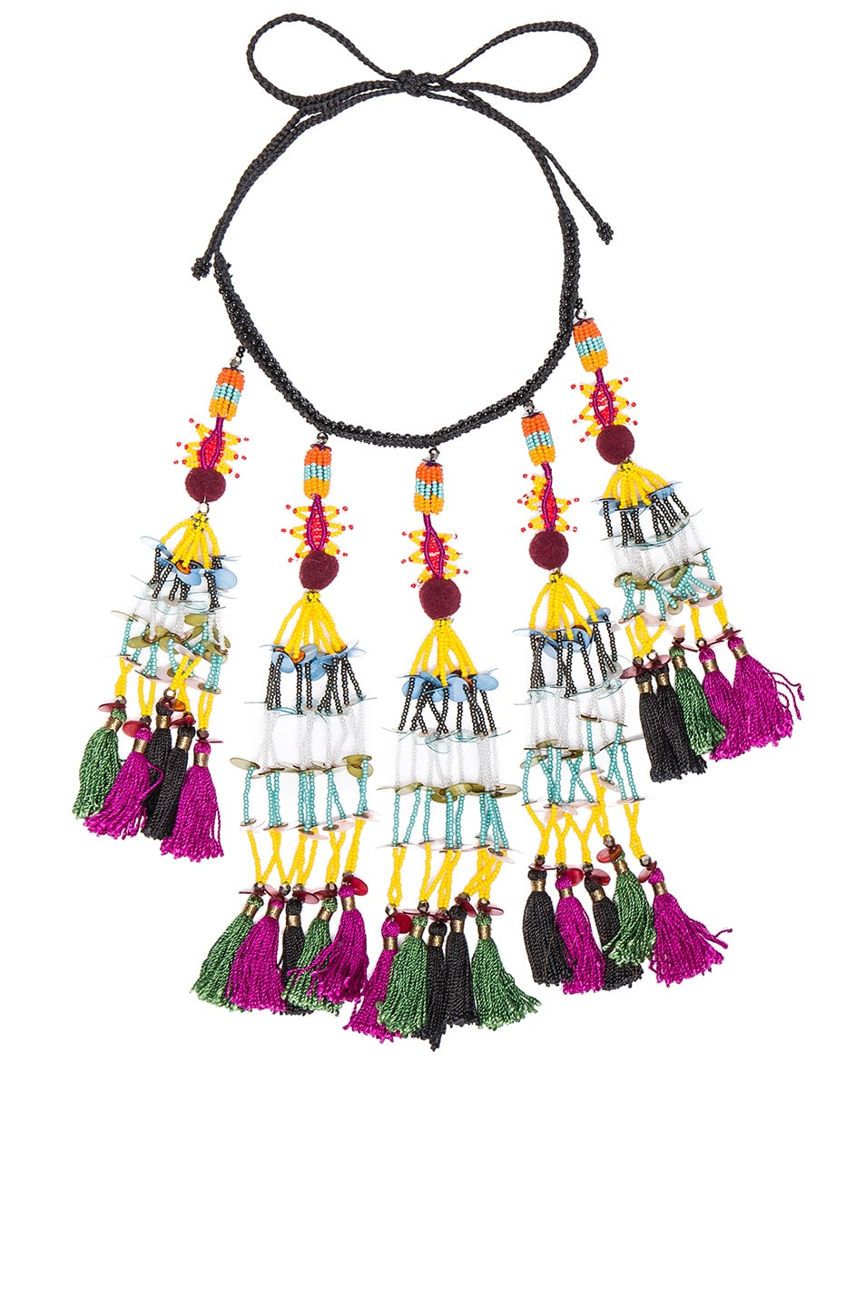 Image 1 of Etro Tassel Beaded Necklace in Black