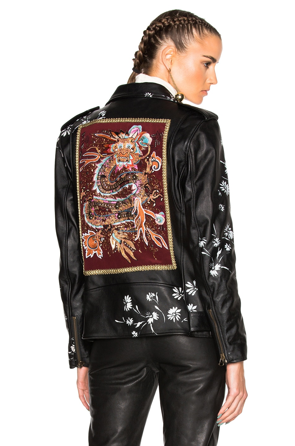 Image 1 of Etro Pearl Leather Jacket in Black