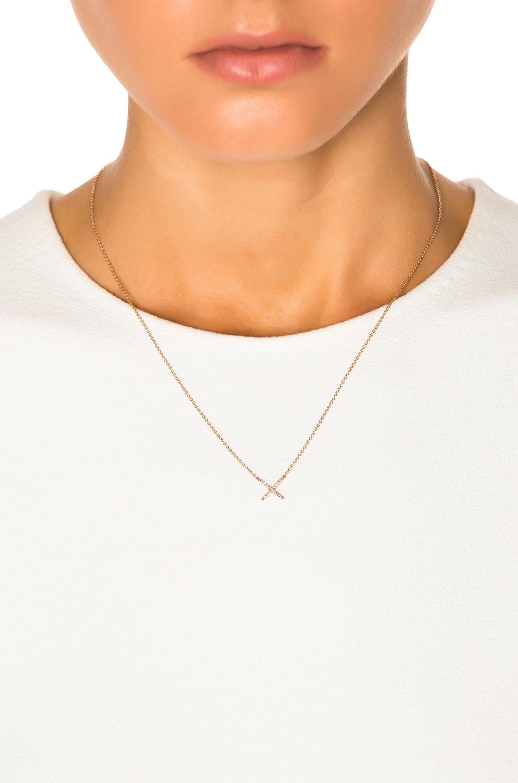 Image 4 of Eva Fehren Baby X Pendant in Rose Gold & Pale Champagne Diamonds