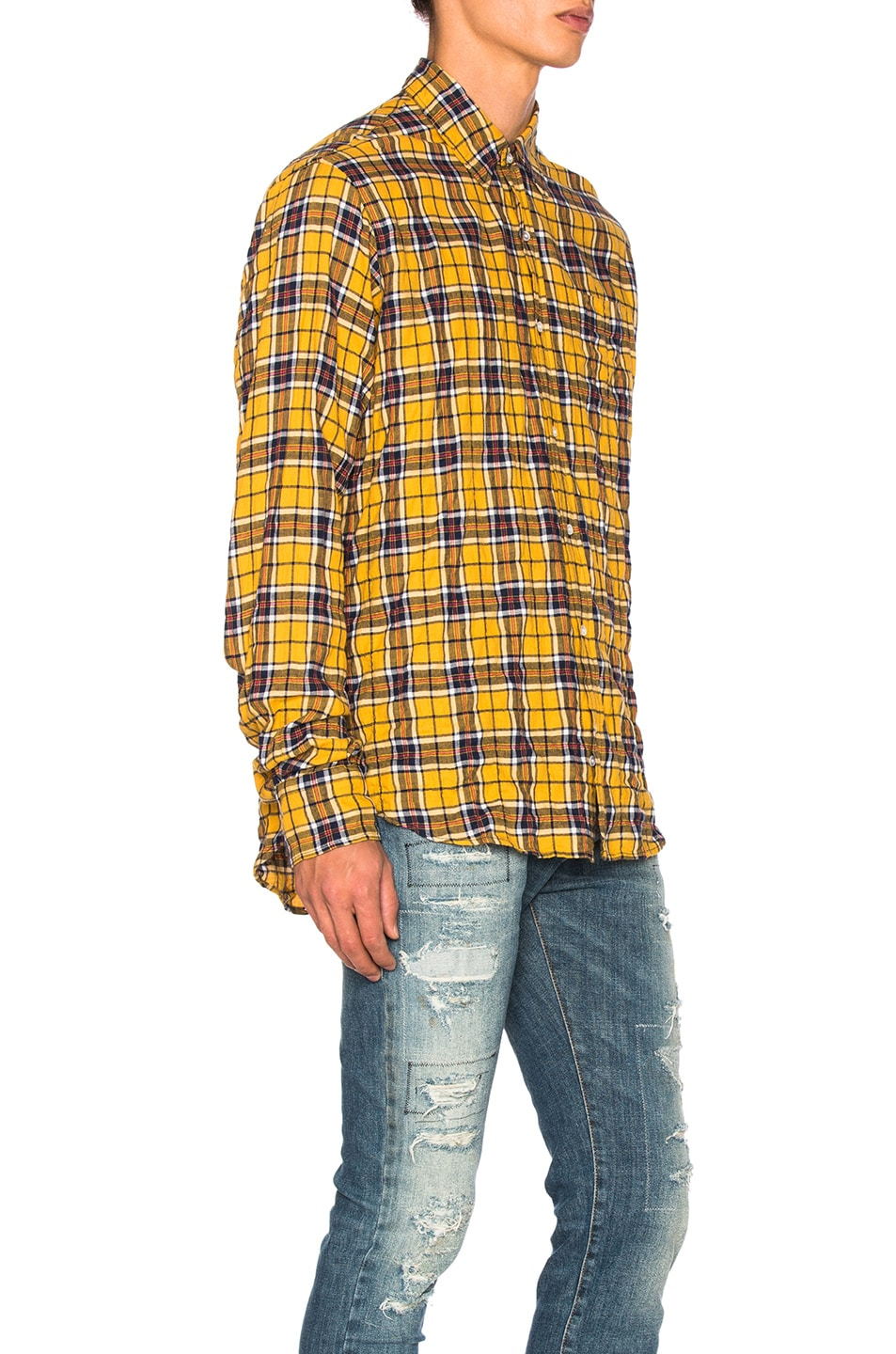 882a932b14a8 Image 3 of Faith Connexion Check Loose Shirt in Yellow   Blue