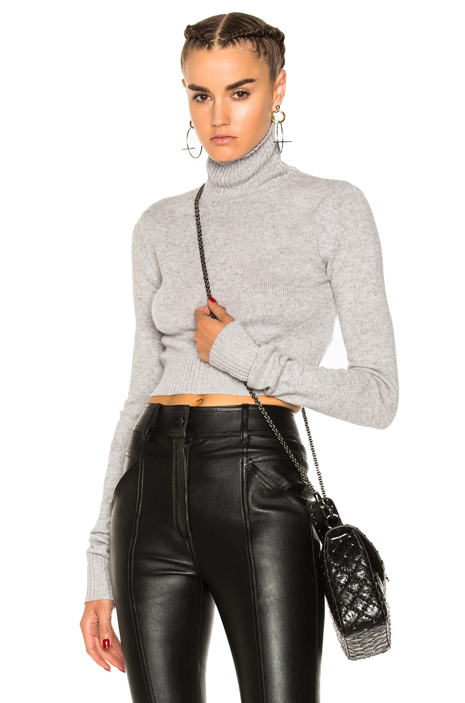 Image 1 of Faith Connexion Crop Turtleneck Sweater in Grey