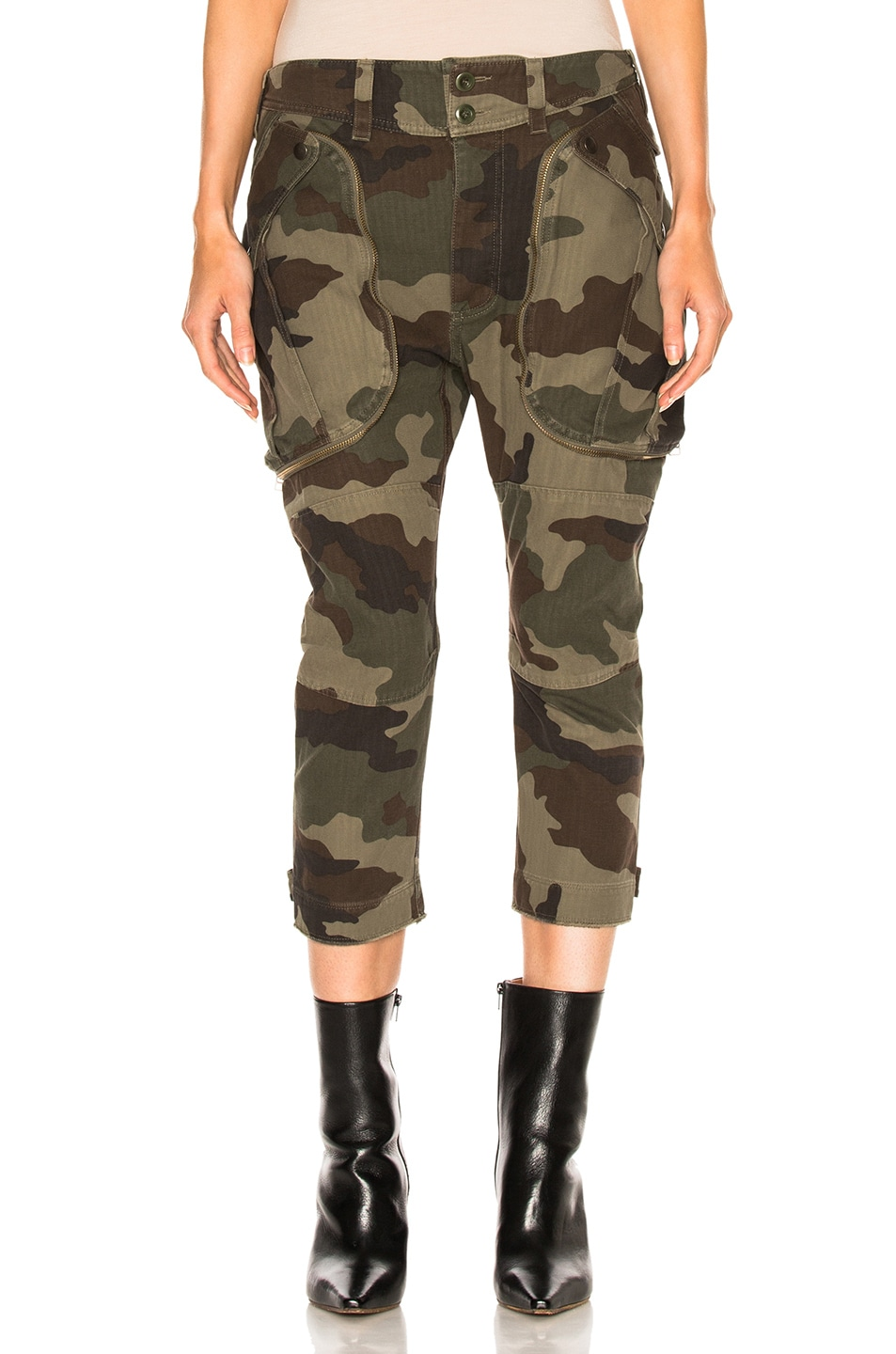 Image 1 of Faith Connexion Camo Cargo Pants in Army Khaki